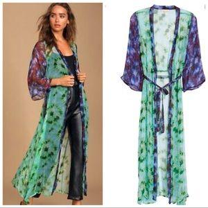 Free People X New Friend Boho Tie-Dye Sheer Kimono